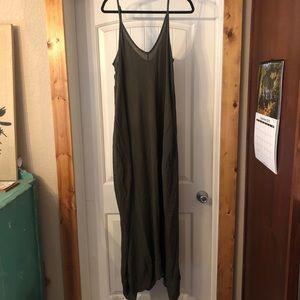 Love Stitch Army Green Maxi Dress